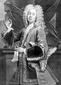 Colley Cibber as Lord Foppington in The Relapse by John Vanbrugh engraving